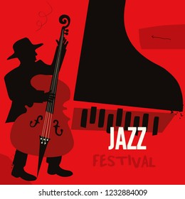 Jazz music festival poster with piano and contrabass flat vector illustration. Music background with music instruments, music festival poster, live concert events, party flyer
