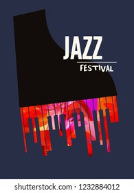 Jazz music festival poster with piano flat vector illustration. Music background with music instrument, music festival poster, live concert events, party flyer, brochure, promotion banner