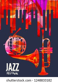 Jazz music festival poster with piano keyboard, french horn and trumpet vector illustration. Music background with music instruments, live concert events, party flyer, brochure, promotion banner