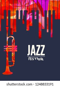 Jazz music festival poster with piano keyboard and trumpet vector illustration design. Music background with music instruments, live concert events, party flyer, brochure, promotion banner