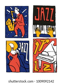 Jazz music festival poster set. Naive shabby style. 2d vector illustration