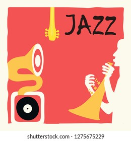 Jazz music festival poster with trumpet and gramophone flat vector illustration design. Music background for live concert events, party flyer, brochure, music promotional banner