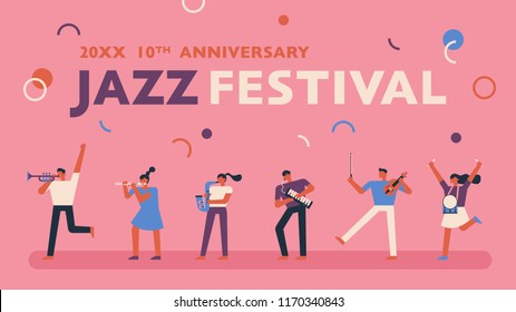 Jazz music festival promotional poster template. People are going to play musical instruments. flat design style vector graphic illustration set