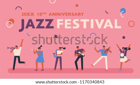 jazz music festival promotional poster template stock vector