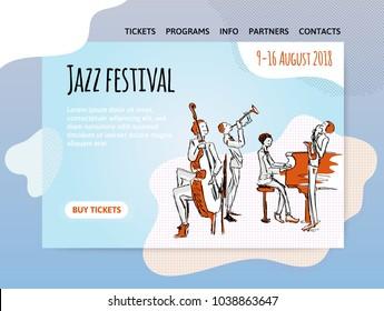 Jazz music festival, quartet in concert. Vector illutration, design template of music site header, banner or poster.