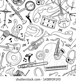 Jazz music instruments hand drawn outline seamless pattern. Electric guitar, headphones texture. Black contour string, brass instruments on white background. Classical orchestra vector design