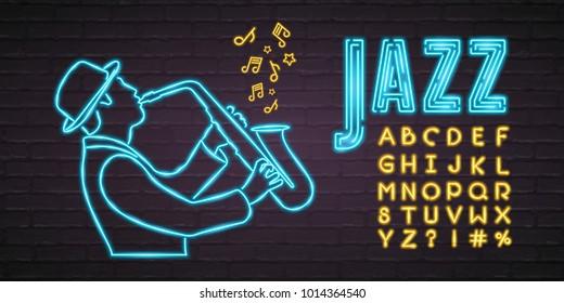 Jazz Music Neon Light Glowing Saxophone Musician and Alphabet Set Neon Light Bright with Dark Background