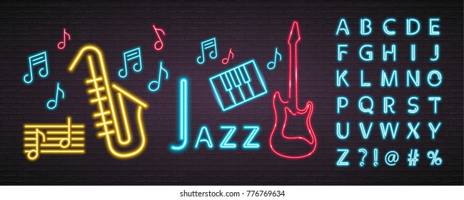 Jazz Music Neon Light Glowing Bright. Guitar, Saxophone, Piano Sign Symbol Neon and Music Note Blue Alphabet