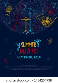 Jazz music night event poster vector outline template. Summer jazzfest flyer layout. Classical music concert web banner with text space. Woodwind orchestra performers silhouettes illustration
