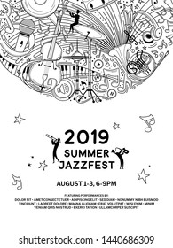 Jazz music night event poster vector outline template. Summer jazz festival flyer layout. Classical music concert web banner with text space. Woodwind orchestra performers silhouettes illustration