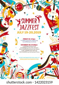 Jazz music night flat vector poster template. Summer jazz, rhythm and blues festival web banner with text space. Banjo, saxophone, drums and flute illustration. Live music concert flyer, brochure