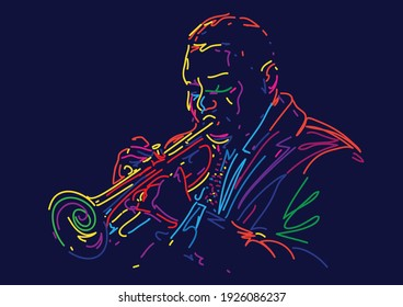 Jazz music player with trumpet vector illustration