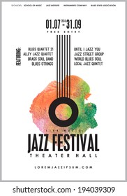 Jazz music, poster background template. Vector design.