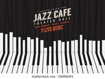 Jazz music, poster background template. Piano keyboard illustration. Music Website background, festival event flyer design.
