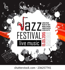 Jazz Music Poster Background Template Vector Illustration