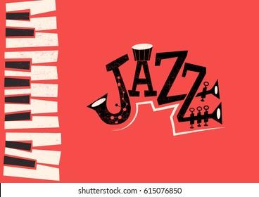 Jazz Music - retro flat illustration