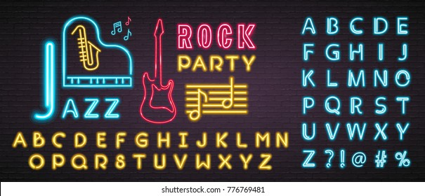 Jazz Music and Rock Party Neon Light Glowing Musical Vector. Piano, Saxophone, Guitar, Music Notes Sign Bright with Alphabets. Blue and Yellow Colour Light Alphabets