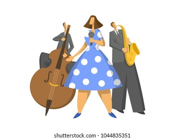 Jazz music trio. Contrabassist, saxophonist and singer on stage. Abstract Vector illustration, isolated on white background