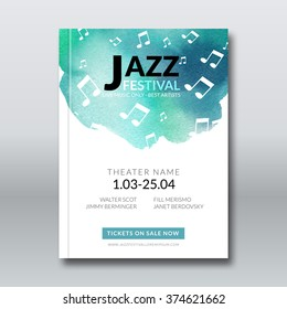Jazz music vector poster design. Watercolor stain background. Abstract background for card, brochure, banner, web design, music billboard template.