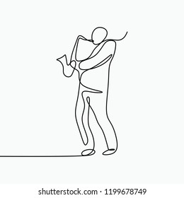 Jazz music vector theme of a musical jazz player with saxophone. One single line art drawing style with minimalistic design.