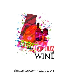 Jazz music and wine background flat vector illustration. Party flyer, jazz music club, wine tasting event, wine festival and celebrations poster for brochure, invitation card, promotion banner, menu