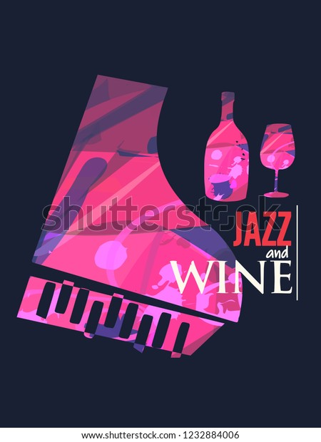 Jazz Music Wine Background Flat Vector Stock Vector (Royalty Free