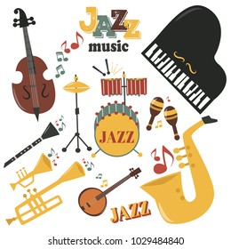 Jazz musical instruments tools icons jazzband piano saxophone music sound vector illustration rock concert note.