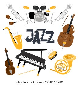 Jazz musical instruments. Vector music instrument objects collection isolated on white, drums and tuba, vintage brass, acoustic violin orchestra