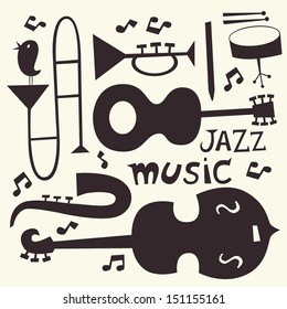Jazz musical instruments vector set