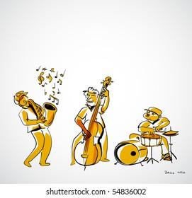 jazz musicians illustration - jazz trio