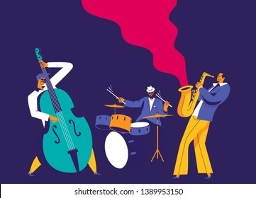Jazz musicians trio. Modern flat colors illustration.