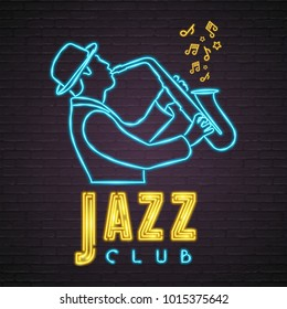 Jazz Neon Neon Light Glowing Bright Saxophone with Music Notes Sign Light