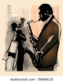 Jazz in New York - vector illustration