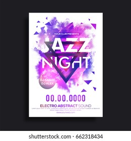 Jazz Night Flyer, Musical Party Template or Banner with abstract purple brush strokes and halftone effect.