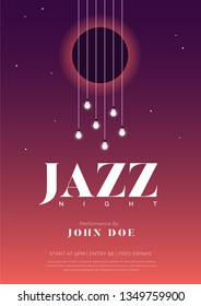 Jazz night music poster with guitar strings and bulbs