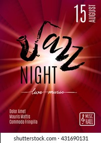 Jazz Night, poster background template. Hand drawn Typographic flyer or poster. Vector design.
