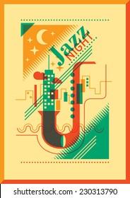 Jazz night poster design. Vector illustration.