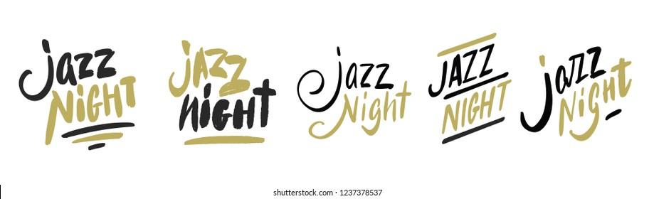 Jazz night set. Hand drawn Music poster illustration - vector