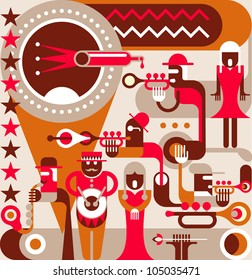 Jazz Orchestra - vector illustration, poster. A singing woman and a jazz band, 50s-60s years of the 20th century.