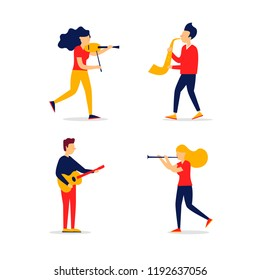 Jazz, people play musical instruments. Vector illustration