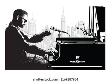 Jazz pianist in New York - vector illustration