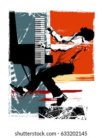 Jazz pianist on a grunge background - vector illustration