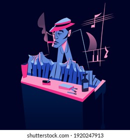 Jazz Piano Player - Afro musician - retro illustration - flat colors