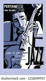 Jazz poster with double bass - Vector illustration