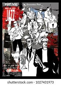 Jazz poster, musicians on a grunge background - vector illustration