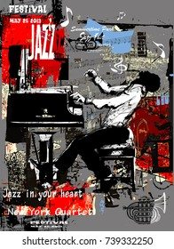 Jazz poster with pianist over grunge background - vector illustration