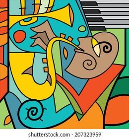 Jazz Poster, Saxophone Player, Piano, Music Instruments (Vector Art)