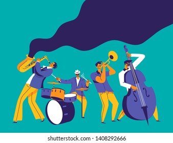 Jazz quartet. Funky musicians with saxophone, trumpet, drums and bass. Modern flat colors illustration.