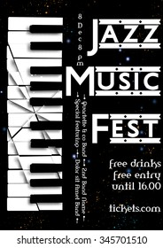 Jazz, rock or blues music poster template. Abstract  background with broken synthesizer for card, flyer, leaflet, brochure, banner, web design.