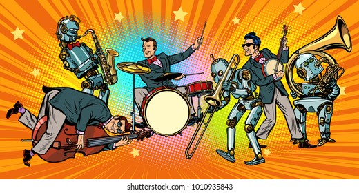 jazz rock n roll band of humans and robots. Pop art retro vector illustration comic cartoon hand drawing
